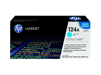 HP 124A (Q6001A) LaserJet 1600/2600/CM1015/CM1017 Standard Yield Cyan Toner Cartridge