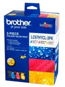 Brother LC67 Cyan Yellow Magenta Triple Ink Pack - 3X 750 Pages