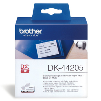 Brother DK-44205 White Removable Continuous Paper Roll - 62mm x 30.48M