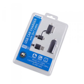 2.4A Car Charger with 3 in 1 Charging Cable BLACK