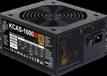 Aerocool KCAS 1000M PSU, 1000W, 14cm Fan, ATX12V Ver.2.4, 6x PCIe 6+2pin, 10x SATA connectors, OVP/UVP/OPP/SCP/SIP, 2 yrs wrty