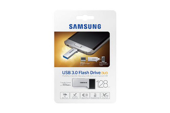 Samsung USB Drive 128GB, Duo Type, USB3.0 and Micro USB2.0, Silver & Black, 130MB/s Read*, 5.2g, 5 Years Warranty