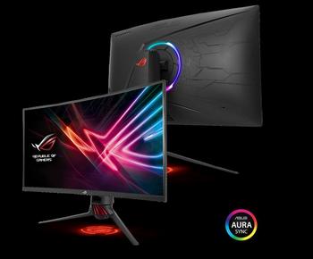 "ASUS ROG STRIX XG32VQ 32"" Curved 2K Gaming VA Curved 144Hz Eyecare Free-Sync HAS GamePlus DP HDMI USB3.0 Game Visual TUV Certified AURA SYNC Monitor"