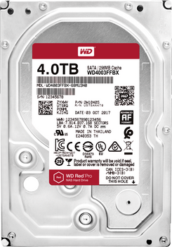 "WESTERN DIGITAL 4TB Red Pro, 256MB 3.5"" Internal SATA 6GB/s 7200RPM (WD4003FFBX)"