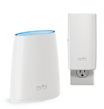 NETGEAR ORBI Whole Home AC2200 Tri-band WiFi System (WiFi Router & Wall Plug Satellite)