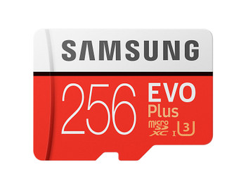 Micro SDXC 256GB EVO Plus /w Adapter UHS-1 SDR104, Class 10, Grade 1 (U3), Up to 100MB/s read, 90MB/s Write, 10 Years Limited Warranty