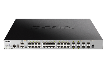 28-Port Gigabit xStack Layer 3+ Managed Stackable PoE Switch with 24 PoE 1000Base-T (4 Combo SFP) and 4 10 GbE SFP+ Ports. PoE budget 370W (740 with D