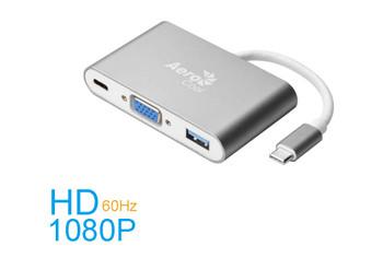 AeroCool Premium Multifunction USB Type-C to VGA USB3.0 & Type-C Power Delivery Adapter