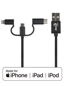3 in 1 MFI Lightning Cable with Matte Black Nylon Braided