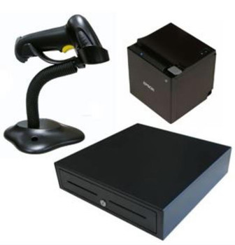 Epson TM-M30with Built-in USB, Ethernet, BT iOS bundle with Birch Cash draw and Barcode scanner (stand included)