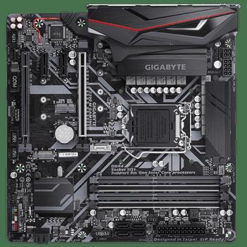 GIGA Z390 M gaming, 4 x DDR4 DIMM, 1 x DVI-D, 1 x HDMI, 4 x USB3.1 Gen1, 1 x RJ-45, 6 x AJ, Micro ATX