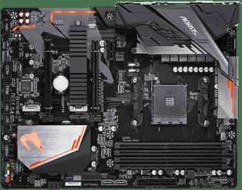 GIGA AORUS AMD B450, 4 x DDR4 DIMM, 1 x DVI-D, 1 x HDMI, 4 x USB3.1 Gen1, 4 x USB2.0, 6 x AJ,ATX