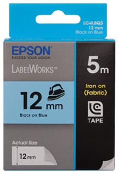 Tape Iron on 12mm Black on Blue 5 metres