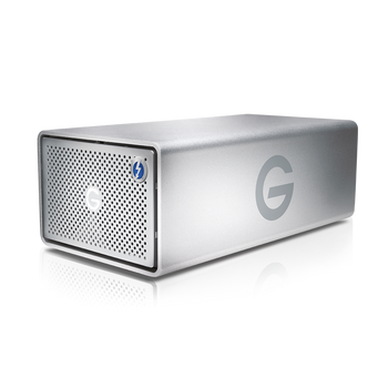 G-RAID Thunderbolt 3 16TB Hardware RAID 2-Bay Storage Solution, Removable Enterprise Class 7200RPM Hard Drives, 2x Thunderbolt 3/1x USB-C/HDMI, Silver