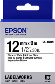 EPSON TAPE STANDARD 12MM BLACK ON WHITE 9 METRE
