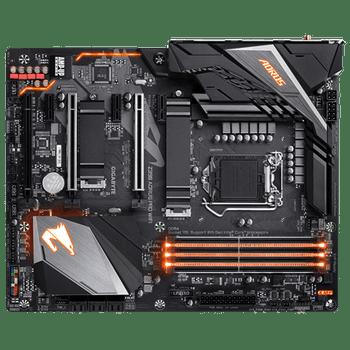 GIGA AORUS Z390, 4 DIMM DDR4, 1 x HDMI, 4 x USB2.0, 3 x USB3.0, 2 x USB3.1, 6 x AJ, ATX