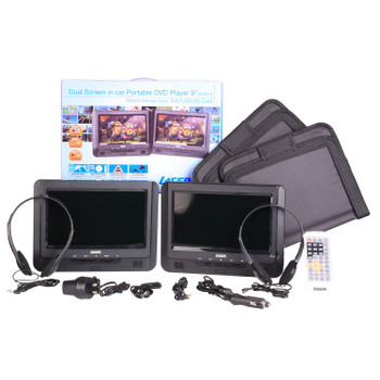 "DVD Player Dual 9"" in car with Bonus Pack"