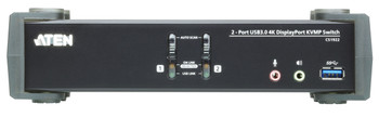 Aten 2 Port USB 3.0 4K DisplayPort KVMP Switch with build in MST Hub. Support HDCP, 4096 x 2160 @ 60Hz. DP 1.2, Mouse emulation, Keyboard emulation