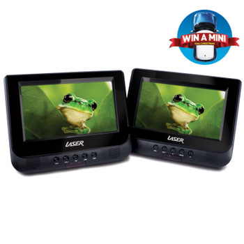 """DVD Player Dual In Car 7"""" with Bonus Pack (headrest mounts and earphones)"""