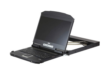 """Aten 18.5"""" Short Depth HDMI Single Rail LCD Console, with full HD LCD screen, can be mounted up to a depth of 47cm to 75cm"""