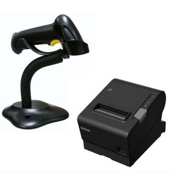 Epson TM-T88VI-243 Thermal Receipt Printer Built-in Ethernet, USB, Parallel PSU, Alogic 1M power Cable and Birch barcode scanner