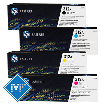 HP 312X toner bundle (includes: CF380X, CF381A, CF382A, CF383A)