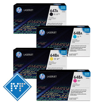 HP 648A toner bundle (includes CE260A, CE261A, CE262A, CE263A)