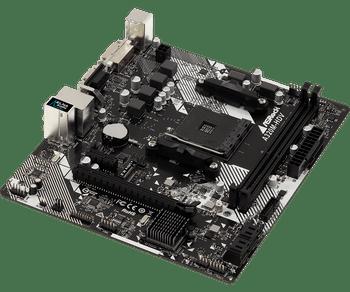 AMD AM4 Socket.Supports DDR4 3200+(OC).1 PCIe 3.0 x16, 1 PCIe 2.0 x1.HDMI, DVI-D, D-Sub.