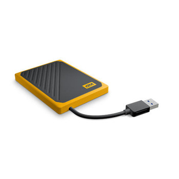 WD My Passport GO Portable SSD, 500GB, USB 3.0, speeds up to 400 MB/s, built in cable,Amber color, 3Y