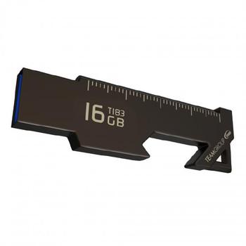 Team Group USB Drive 128GB, T183, USB3.1, Ruler & Bottle / Box Opener, Nickel Black, Capless, 85MB/s Read, 29MB/s Write*, 19g, Lifetime Warranty