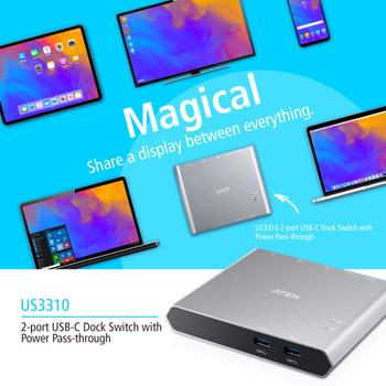 Aten 2 Port USB-C Gen 1 Dock Switch with Power Pass-Through, Supports Samsung DeX mode and Huawei desktop mod