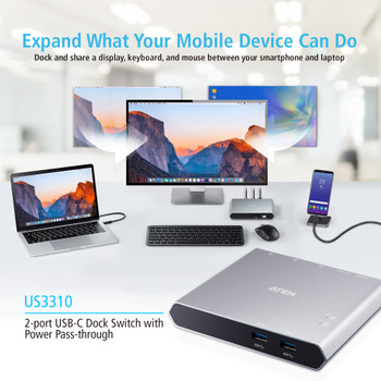 Aten 2 Port USB-C Gen 1 Dock Switch with Power Pass-Through, Supports Samsung DeX mode and Huawei desktop mod