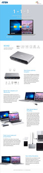 Aten USB-C Gen 2 Sharing Switch with Power Pass Through, BEZEL-X feature allows two laptops to share files with each other