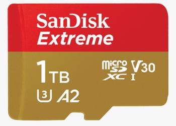 SanDisk Extreme Pro microSDXC, SQXCZ 1TB, V30, U3, C10, A2, UHS-I, 170MB/s R, 90MB/s W, 4x6, SD adaptor, Lifetime Limited