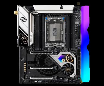 AMD TRX40; 256GB, 8x DDR4; 3x PCI Express 4.0; 2x USB 3.2 Type-A, USB 3.2 Type-C, 4x USB 3.2 Gen1; 8x SATA3 6Gb/s, Hyper M.2 Sockets M2 1,Hyper M.2 So