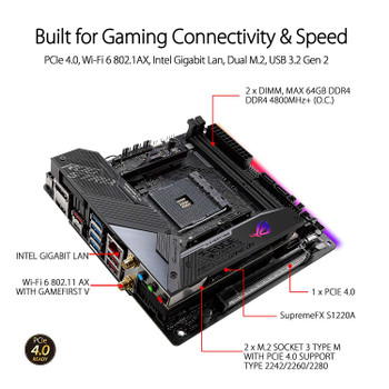 ASUS AMD X570 mini-ITX Gaming motherboard with PCIe 4.0, Aura Sync RGB, Intel Gigabit Ethernet, Wi-Fi 6 (802.11ax), M.2 Audio Combo Card