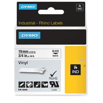 Dymo Rhino Black on White 19mm Vinyl Industrial Tape