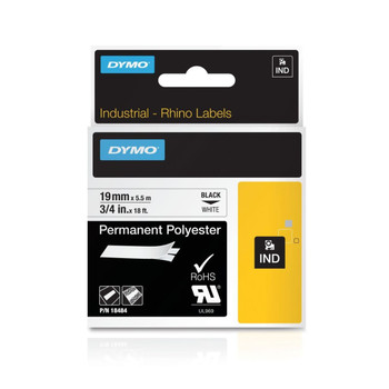 Dymo Rhino Black on White 19mm Permanent Polyester Industrial Tape
