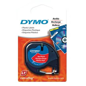 Dymo LetraTag Plastic 12mm x 4m Red
