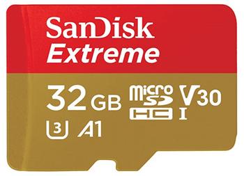 SanDisk Extreme microSDHC, SQXAF 32GB, V30, U3, C10, A1, UHS-1, 100MB/s R, 60MB/s W, 4x6, SD adaptor, Lifetime Limited, Action Cam/Drone SKU