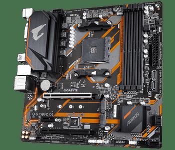 AMD B450 AORUS MB w Hybrid Digital PWM, Dual NVMe PCIe Gen3 M.2, GIGABYTE Gaming LAN w 25KV ESD Protection, Anti-sulfur Design, CEC 2019 ready, RGB FU