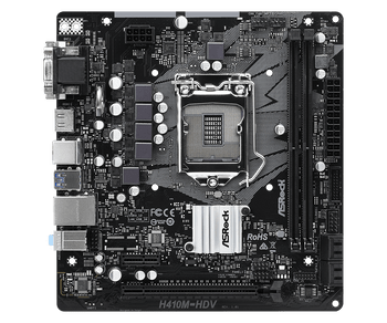 Intel H410; 2 DDR4 DIMM 2933 MHz; 1 PCIe 3.0 x16, 1 PCIe 3.0 x1; 2 DDR4 DIMM 2933 MHz; 4 SATA3; 4 USB 3.2 Gen1 (2 Front, 2 Rear); HDMI, D-Sub, DVI