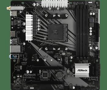 AMD B450; 4 DDR4 DIMM; 1 PCIe 3.0 x16, 1 PCIe 2.0 x16; 4 SATA3, 1 Ultra M.2 (PCIe Gen3 x4) (Depending on CPU); 6 x USB 3.1 Gen1; Graphics: HDMI