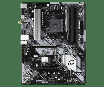 AMD B550; 4 DDR4 DIMM; PCIe 4.0 x16, PCIe 3.0 x16, 2 PCIe 3.0 x1, M.2 WiFi Key E; 4 SATA3, Hyper M.2 (PCIe); 8 USB 3.2 Gen1; Graphics: HDMI