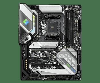 AMD B550; 4 DDR4 DIMM; PCIe 4.0, PCIe 3.0, 2 PCIe 3.0, M.2 WiFi Key E; 6 SATA3, Hyper M.2 (PCIe), M.2 (PCIe); 7 USB 3.2 ; Graphics: HDMI, DisplayPort
