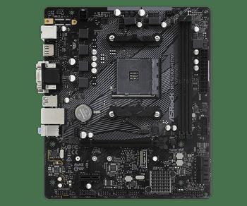 AMD B550; 2 DDR4 DIMM; 1 PCIe 4.0 x16, 1 PCIe 3.0 x1; 4 SATA3, 1 Hyper M.2 (PCIe Gen4 x4 & SATA3); 6 USB 3.2 Gen1; Graphics: HDMI, DVI-D, D-Sub