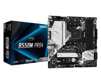 AMD B550; 4 DDR4; PCIe 4.0 x16, PCIe 3.0 x16, PCIe 3.0 x1, M.2 WiFi Key E; 6 SATA3, Hyper M.2 (PCIe), M.2 (PCIe); 10 USB 3.2; Graphics:HDMI, DP, D-Sub
