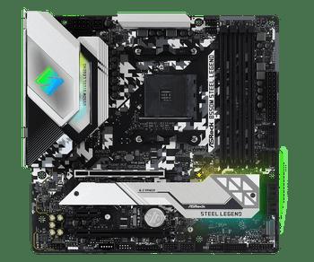AMD B550; 4 DDR4; PCIe 4.0 x16, PCIe 3.0 x16, PCIe 3.0 x1, M.2 WiFi Key E; 6 SATA3, Hyper M.2 (PCIe), M.2 (PCIe); 10 USB 3.2; Graphics: HDMI, DP