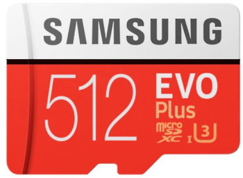 Micro SDXC 512GB EVO Plus /w Adapter UHS-1 SDR104, Class 10, Grade 1 (U3), Up to 100MB/s read, 90MB/s Write, 10 Years Limited Warranty