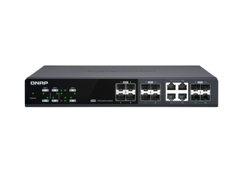 Qnap 12 Port Web Managed Switch, 10gbe Sfp+(8), Shared 10gbe Sfp+/10gbase-t(4), 2yr